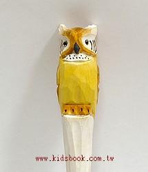 貓頭鷹(白長耳):純手工木頭動物原子筆(藍)(現貨數量:1)