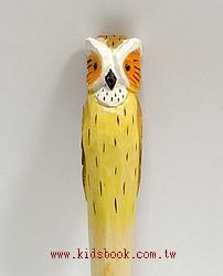 貓頭鷹(白短耳):純手工木頭動物原子筆(藍)(現貨數量:1)