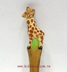 長頸鹿寶寶:純手工木頭動物原子筆(藍)