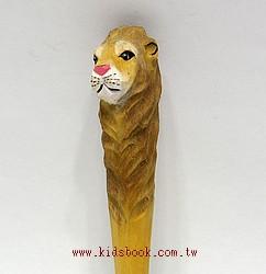 獅子:純手工木頭動物原子筆(藍)