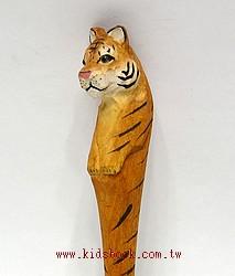 老虎:純手工木頭動物原子筆(藍)