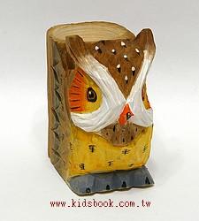 純手工木頭動物筆筒:貓頭鷹