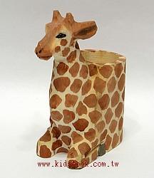 純手工木頭動物筆筒:長頸鹿