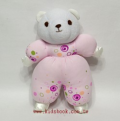 手工綿柔音樂布偶:粉紫熊寶寶 (台灣製造)現貨數量:1