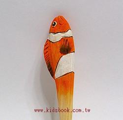 小丑魚:純手工木頭動物原子筆(藍)(現貨數量:1)