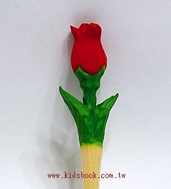 玫瑰花:純手工木頭造型原子筆(藍)(現貨數量:2)
