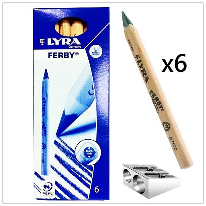 內頁放大:德國LYRA─粗三角原木鉛筆(短塗鴉筆)12cm(6入+筆削 )