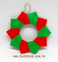 「特大」聖誕圓圈摺紙材料包2(紅綠色款)(直徑約30cm)