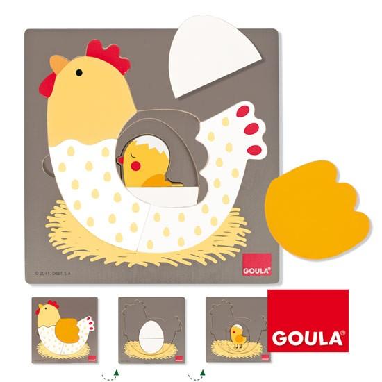 內頁放大:西班牙寶寶木製三層拼圖─小雞生長