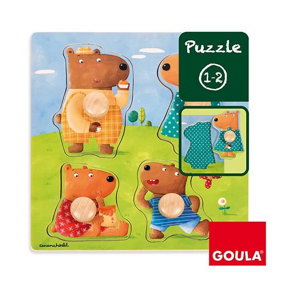 內頁放大:西班牙寶寶握鈕拼圖─小熊家族(單片)(特價)