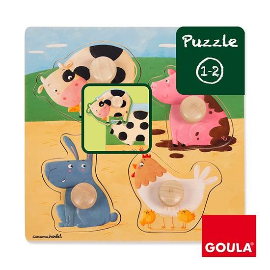 內頁放大:西班牙寶寶握鈕拼圖─農場動物(單片)(特價)