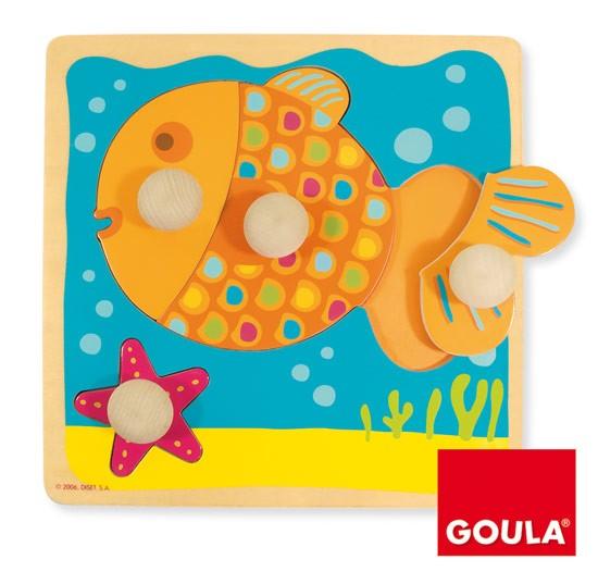 內頁放大:西班牙寶寶握鈕拼圖─小魚(4片組合)(特價 )