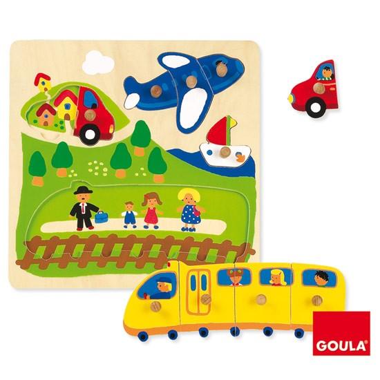 內頁放大:西班牙寶寶握鈕拼圖─交通工具(10片組合)