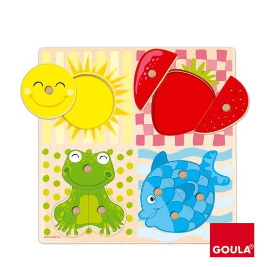 內頁放大:西班牙寶寶握鈕拼圖─10pcs紅黃藍綠可愛認知拼圖(10片組合)