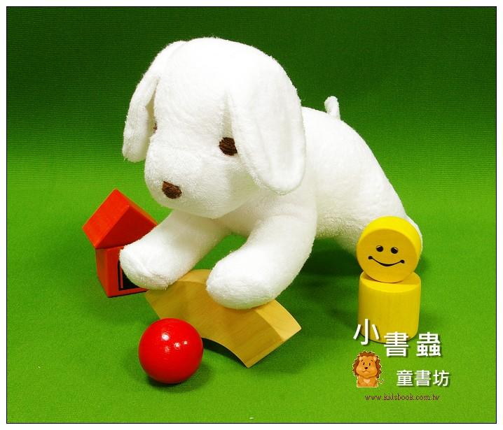 內頁放大:手工綿柔音樂布偶:小狗─白色 (台灣製造)