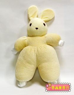 手工綿柔音樂布偶:兔子─粉鵝黃色(柔舒棉布)